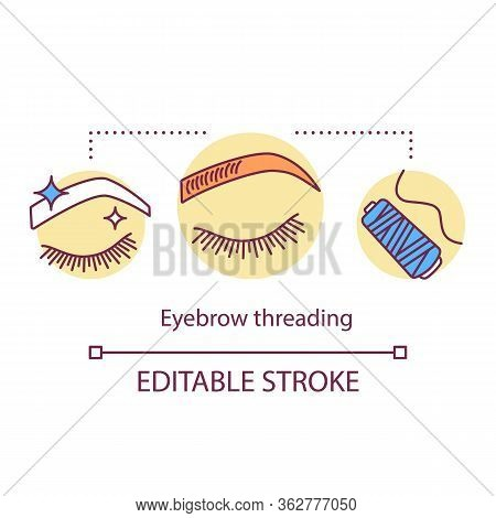 Eyebrow Threading Concept Icon. Beauty Service Idea Thin Line Illustration. Beauty Salon Epilation P