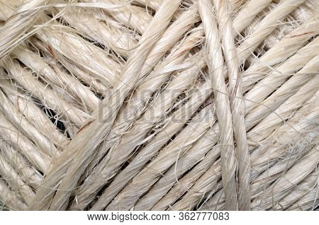 Close Up Natural Fiber Cord Background For Texture