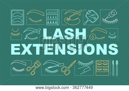 Lash Extensions Word Concepts Banner. Beauty Service. Classic, 2d And 3d Volume. Eyelash Curling. Pr