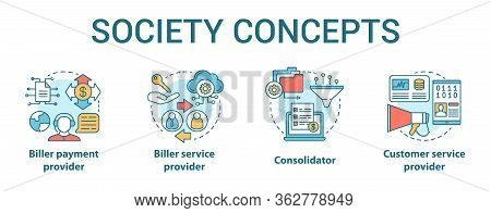 Billing Concept Icons Set. Society Idea Thin Line Illustrations. Biller Payment And Service Provider