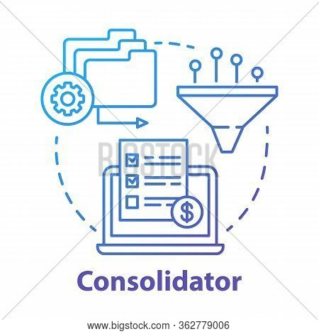 Consolidator Concept Icon. Billing Idea Thin Line Illustration. Combining Orders. Debt Consolidation