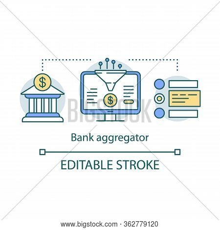 Bank Aggregator Service Concept Icon. Data Compiling, Account Information Gathering Idea Thin Line I