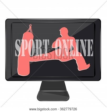 Online Sports. Karate - A Man Makes A Kick - Computer, Screen - Isolated On White Background - Vecto