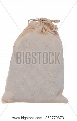 A Drawstring Bag Packaging Or A Bright Burlap Sack With Copy Space Isolated On A White Background. M
