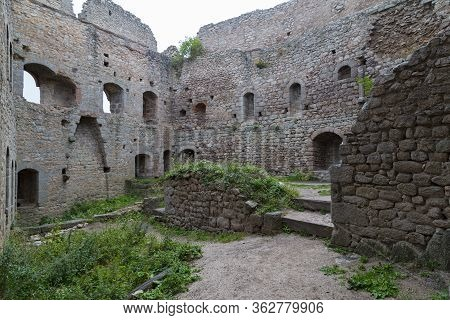 Ruins Of Medieval Castle Ortenbourg  Inside - One Of The Most Beautiful Ruins In The Rhine Valley. A