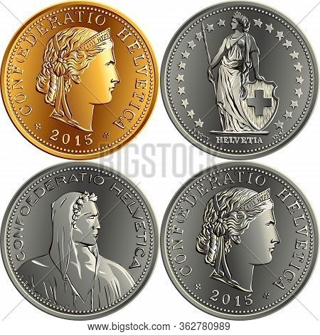 Set Of Swiss Franc Money, Official Coin In Switzerland, Obverse Face With Alpine Herdsman, Liberty,