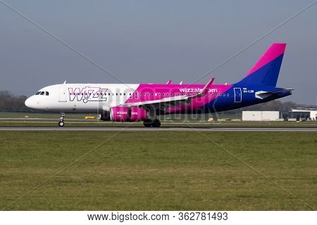 Vienna / Austria - April 18, 2019: Wizz Air Airbus A320 Ha-lsb Passenger Plane Arrival And Landing A