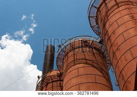 Sloss Furnaces National Historic Landmark, Birmingham Alabama Usa, Orange Rusty Furnaces Seen From B