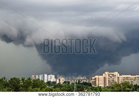 Huge Wide Powerful Catastrophic Tornado In A Densely Populated City Power On A Scale Of F3, Ef4-5