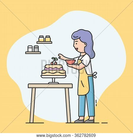 Concept Of Hobbies And Cooking Cake. Happy Woman Is Cooking Food At Kitchen, Baking And Decorating T