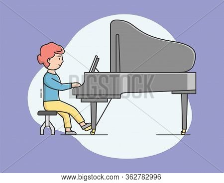 Playing Musical Instruments Concept. Talent Woman Plays Piano On Concert. Pianist Playing Musical Co