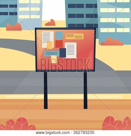 Urban Public Place For Posting And Reading Announcements On The Bulletin Board. Possibility Of Addin
