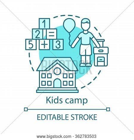 Kids, Children Camp Concept Icon. Summer Club, Community Idea Thin Line Illustration. Child Holiday