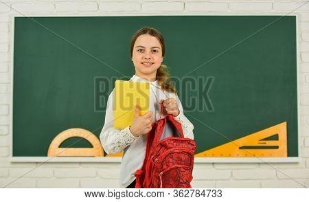 Educative Activity. Child Study In School. My Backpack Is Just Right. Smart Schoolgirl. School Educa