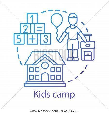 Kids Camp Concept Icon. Summer Children Club, Community Idea Thin Line Illustration. Child Holiday R
