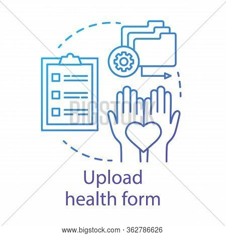 Upload Health Form Concept Icon. Camp, Interest Club Application Idea Thin Line Illustration. Mandat