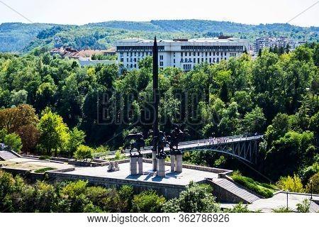 Veliko Tarnovo, Bulgaria - August 31, 2019: Asenevtsi Monument. The Equestrian Statues Of The Asen D