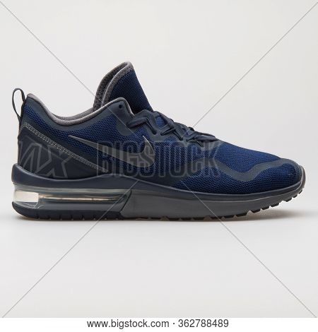 Vienna, Austria - January 12, 2018: Nike Air Max Fury Obsidian And Grey Sneaker On White Background.