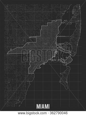 City Map Of Miami. Vector Elevation Map Of Town. Generated Conceptual Surface Relief Map. Detailed G