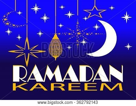 Ramadan Kareem Greeting Card, Ramadan Kareem Background. Ramadan Kareem Vector, Islamic Arabic Lante
