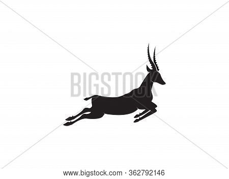 Gazelle Silhouette Jump Black Antelope. Ghazal Run Vector Stand Side View Illustration Isolated On W