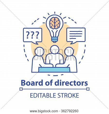 Board Of Directors Concept Icon. Business Meeting, Brainstorming Idea Thin Line Illustration. Corpor