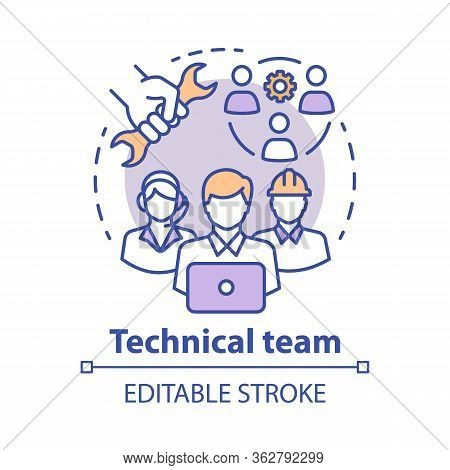 Technical Team Concept Icon. Company Staff, Workforce Idea Thin Line Illustration. Software Engineer