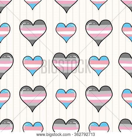 Cute Trans Demigirl Heart Cartoon Seamless Vector Pattern. Hand Drawn Isolated Pride Flag For Lgbtq