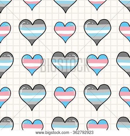 Cute Trans Demiboy Heart Cartoon Seamless Vector Pattern. Hand Drawn Isolated Pride Flag For Lgbtq B