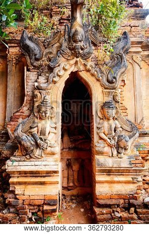 Close up details of Shwe Indein pagoda near lake Inle in Myanmar
