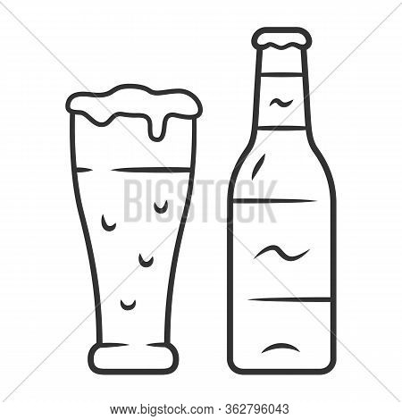Beer Linear Icon. Uncorked Bottle And Glass Of Beverage. Bottled And Draft Lager. Alcoholic Drink. B