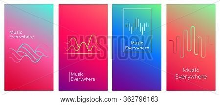 Music Everywhere Social Media Stories Duotone Template Set. Gradient Web Banner With Text, Content L