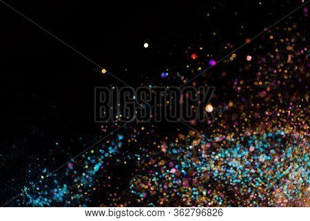 Festive Bokeh Lights Background, Abstract Sparkle Backdrop With Circles, Modern Design Wallpaper Wit