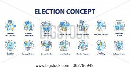 Election Concept Icons Set. Political Campaign And Propaganda Idea Thin Line Illustrations. Presiden