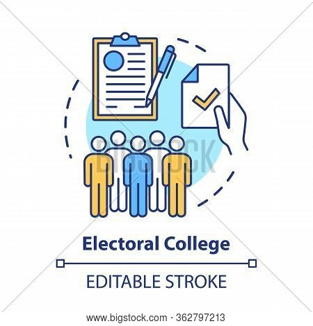 Elections Concept Icon. Electoral College Idea Thin Line Illustration. Voting, Choosing From Politic