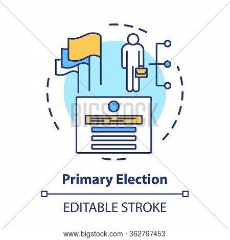 Elections Concept Icon. Primary Election, Ballot Idea Thin Line Illustration. Choosing New Represent