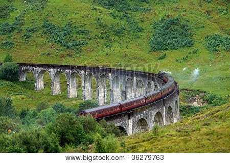 Glenfinnan Viaduct In Green Anbiance