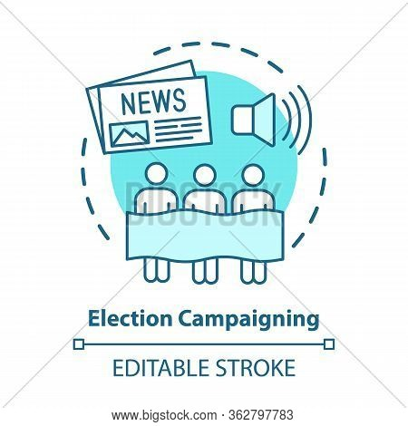 Election Concept Icon. Election Campaigning Idea Thin Line Illustration. Political Presidential Race