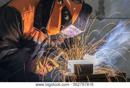 Welders Working At The Plant Produce Metal Structures