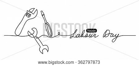 Happy Labour Day Simple Vector Web Banner. Set Of Tools. Lettering Labour Day. Black And White Backg