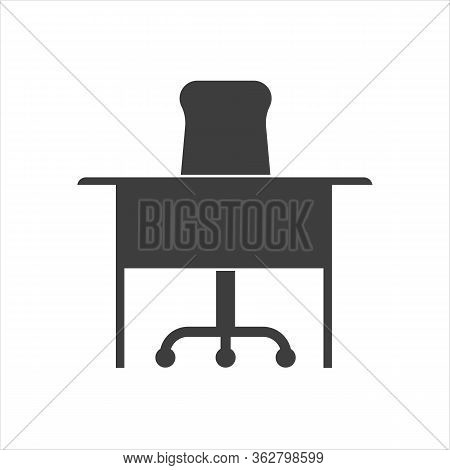 Chair And Table Icon, Office Desk And Chair