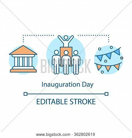 Inauguration Day Concept Icon. Election Idea Thin Line Illustration. New President Oath Ceremony. El