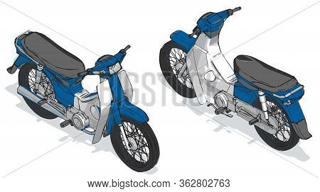 Motor Scooter Isometric Color Vector Illustration, Isometric Scooter Vector, Blue Scooter Motorcycle