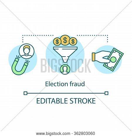 Election Concept Icon. Election Fraud Idea Thin Line Illustration. Corruption In Politics. Crowdfund
