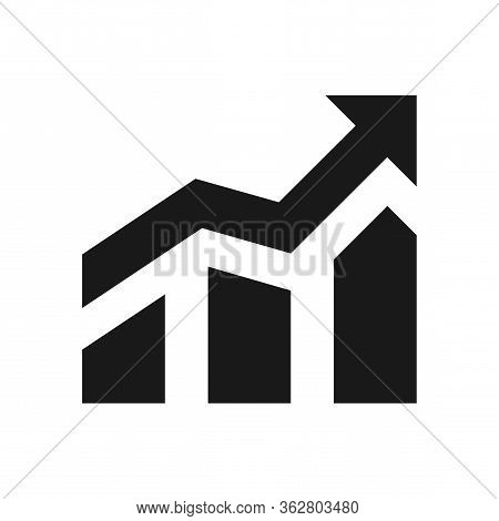 Growth Profit Icon Vector. Progress Icon, Sign. Isolated Icon. Growing Bar Graph Icon With Arrow Iso