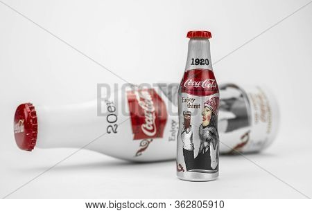New York, Usa 11.01.2020 Coca-cola Aluminum Recyclable Bottle Isolated On Table On White Background