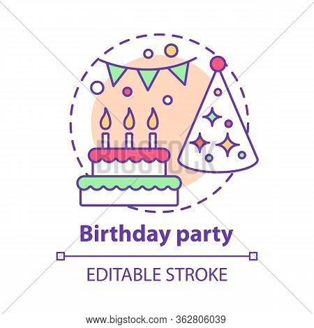 Birthday Party Concept Icon. B-day Holiday Celebration Idea Thin Line Illustration. Cake, Birthday H