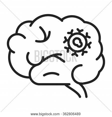 Brain Cancer Line Black Icon. Malignant Neoplasm. Oncology.pictogram For Web Page, Mobile App, Promo