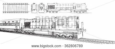 Hand Draw Illustration Set Of Train, Train Drawing, Train Drawing Outline Hand Draw Illustration Set