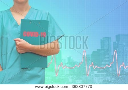 Doctor Or Surgeon With A Folder On Ecg Line Medical Blue City Background. Medical Coronavirus Pandem